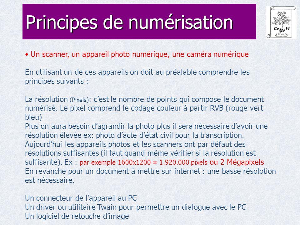 Un scanner, un appareil photo numérique, une caméra numérique En utilisant un de ces appareils on doit au préalable comprendre les principes suivants : La résolution (Pixels) : c'est le nombre de points qui compose le document numérisé.