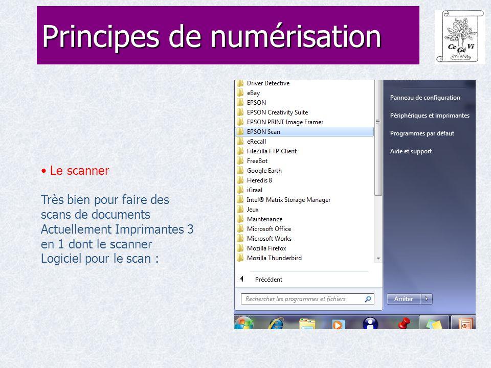Le scanner Très bien pour faire des scans de documents Actuellement Imprimantes 3 en 1 dont le scanner Logiciel pour le scan : Principes de numérisation