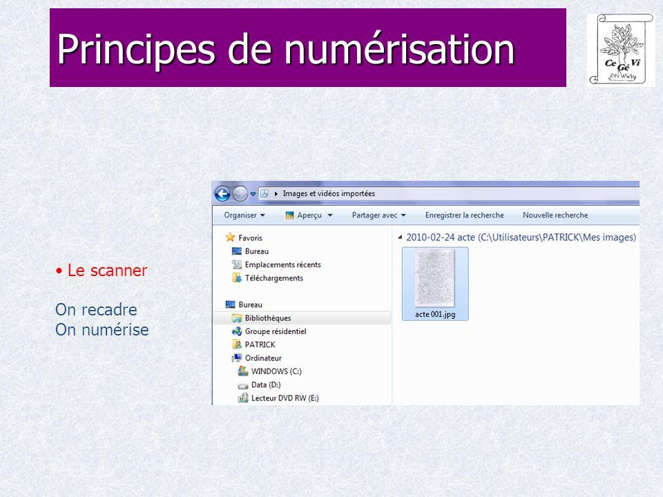 Le scanner On recadre On numérise Principes de numérisation