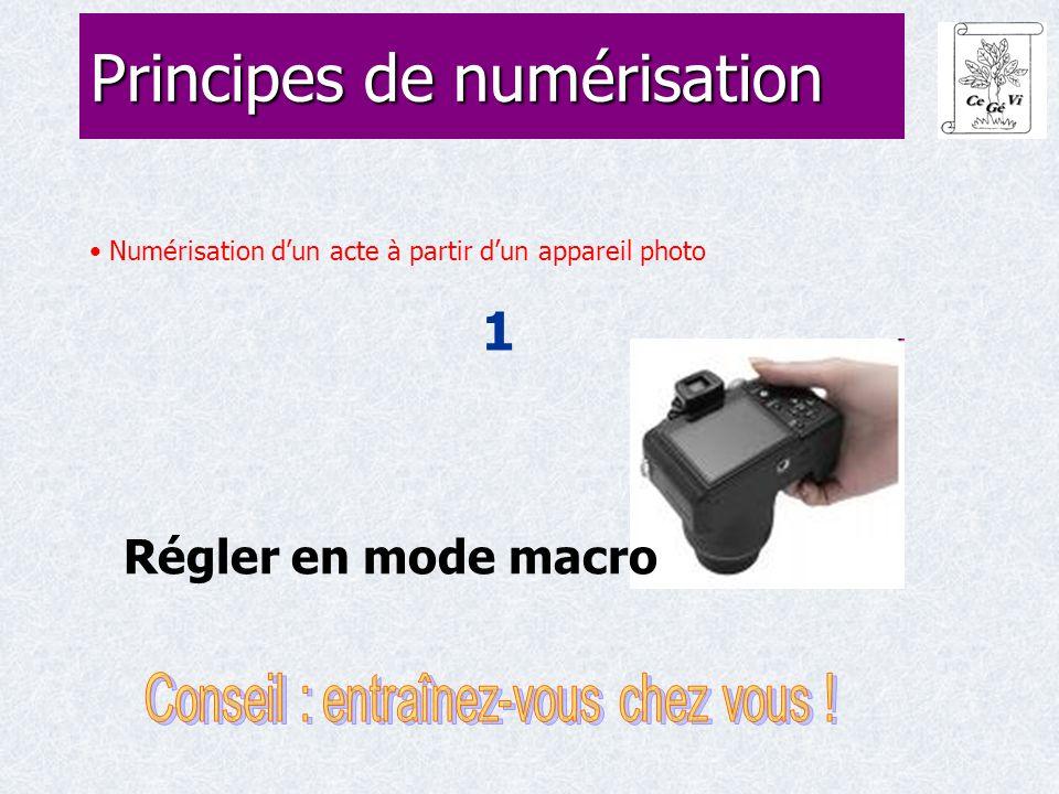 Numérisation d'un acte à partir d'un appareil photo 1 Principes de numérisation Régler en mode macro