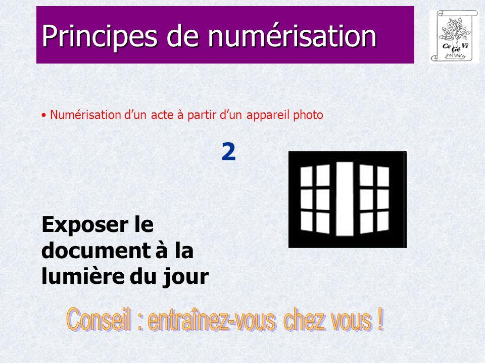 Numérisation d'un acte à partir d'un appareil photo 2 Principes de numérisation Exposer le document à la lumière du jour