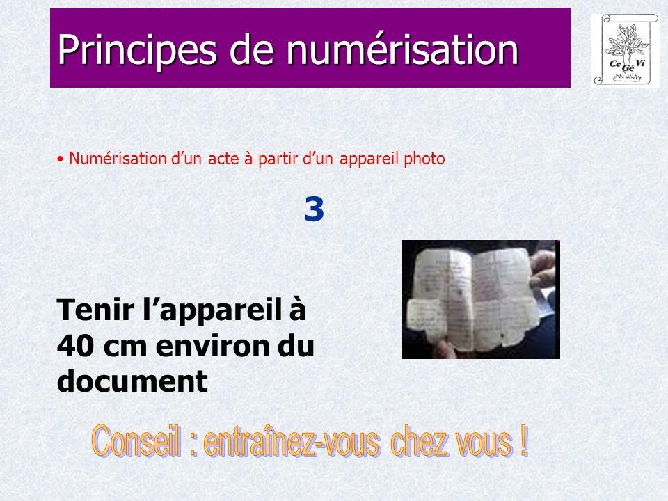 Numérisation d'un acte à partir d'un appareil photo 3 Principes de numérisation Tenir l'appareil à 40 cm environ du document