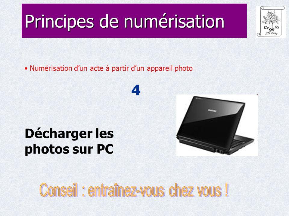 Numérisation d'un acte à partir d'un appareil photo 4 Principes de numérisation Décharger les photos sur PC