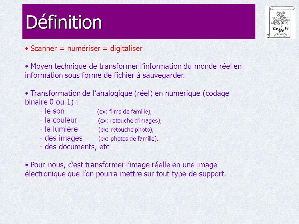 Scanner = numériser = digitaliser Moyen technique de transformer l'information du monde réel en information sous forme de fichier à sauvegarder. Trans