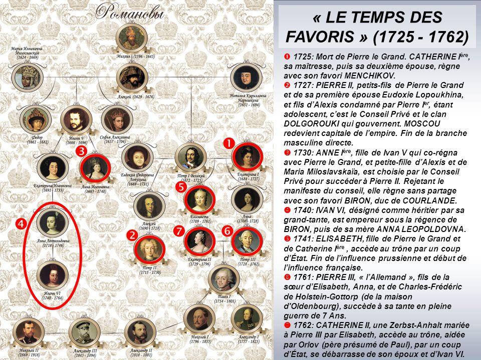 « LE TEMPS DES FAVORIS » (1725 - 1762)        1725: Mort de Pierre le Grand.