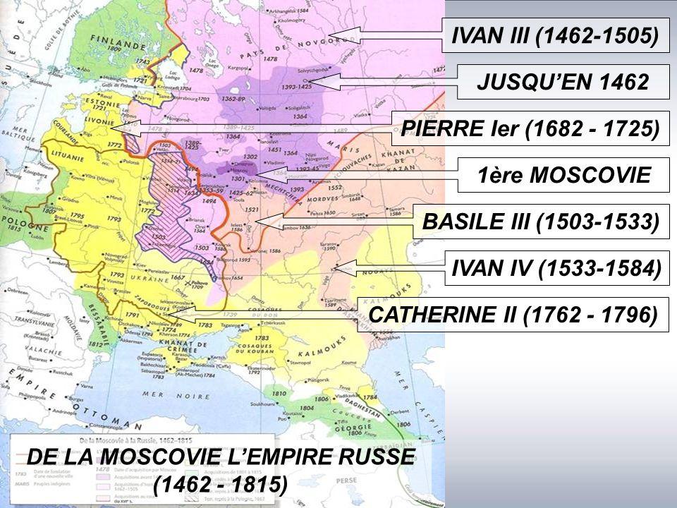 JUSQU'EN 1462 IVAN III (1462-1505) 1ère MOSCOVIE BASILE III (1503-1533) DE LA MOSCOVIE L'EMPIRE RUSSE (1462 - 1815) IVAN IV (1533-1584) PIERRE Ier (1682 - 1725) CATHERINE II (1762 - 1796)