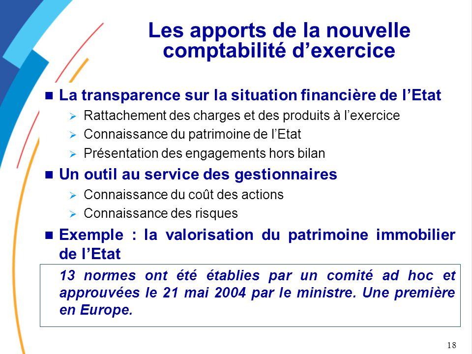 18 Les apports de la nouvelle comptabilité d'exercice La transparence sur la situation financière de l'Etat  Rattachement des charges et des produits