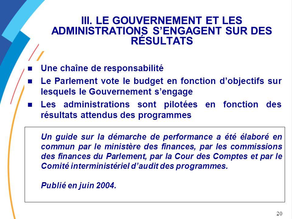 20 III. LE GOUVERNEMENT ET LES ADMINISTRATIONS S'ENGAGENT SUR DES RÉSULTATS Une chaîne de responsabilité Le Parlement vote le budget en fonction d'obj