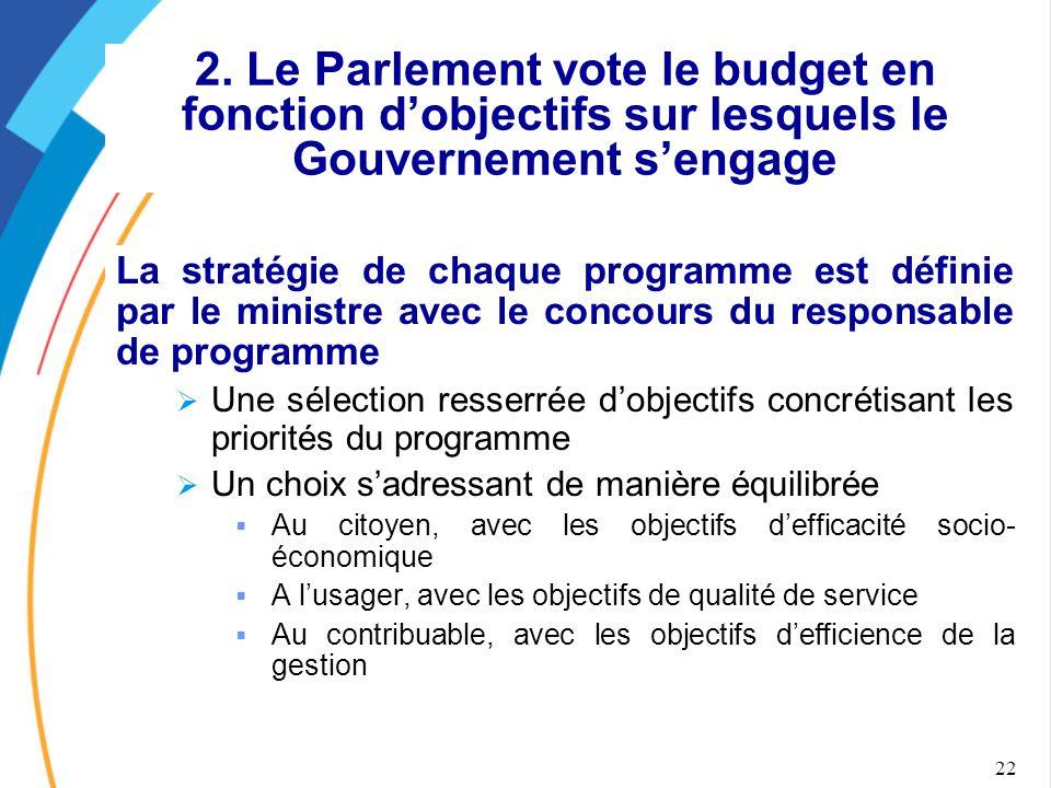 22 2. Le Parlement vote le budget en fonction d'objectifs sur lesquels le Gouvernement s'engage La stratégie de chaque programme est définie par le mi