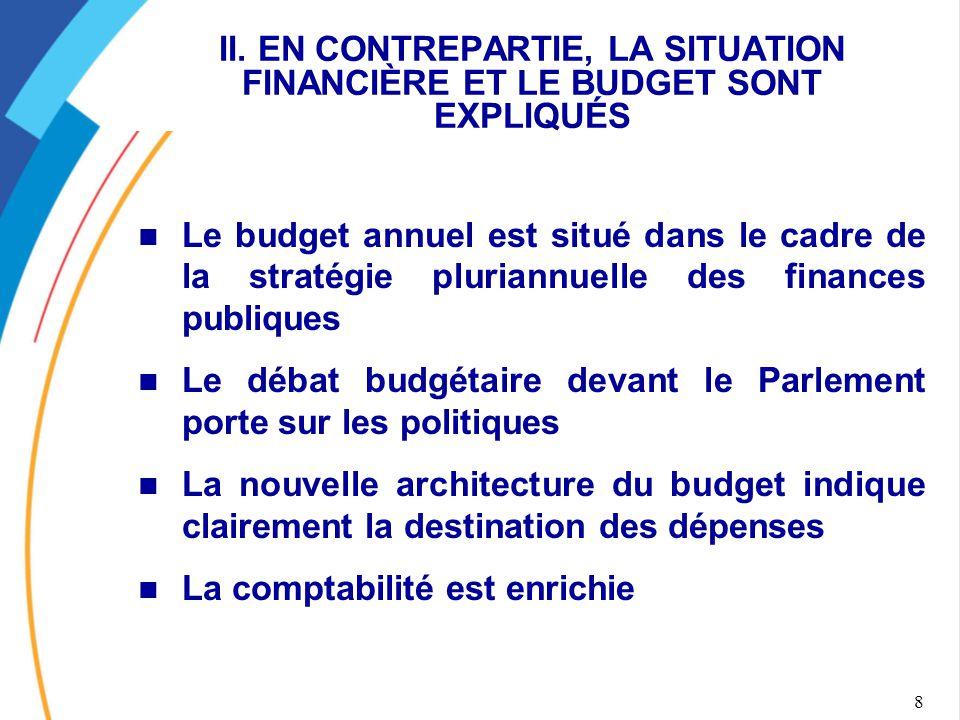 8 II. EN CONTREPARTIE, LA SITUATION FINANCIÈRE ET LE BUDGET SONT EXPLIQUÉS Le budget annuel est situé dans le cadre de la stratégie pluriannuelle des