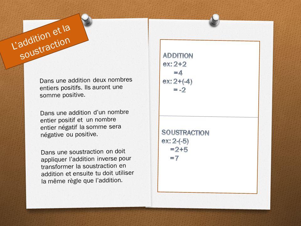 Multiplication et division Dans une multiplication deux nombres entier positif ou deux nombres entiers négatif multiplier ensemble a un produit positif.
