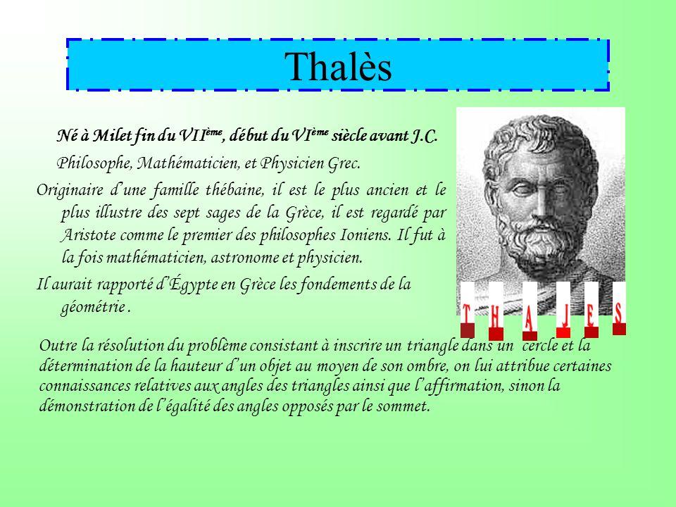 Thalès Né à Milet fin du VII ème, début du VI ème siècle avant J.C.