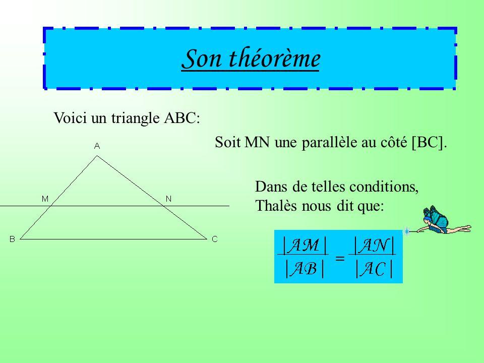 Son théorème Voici un triangle ABC: Soit MN une parallèle au côté [BC].