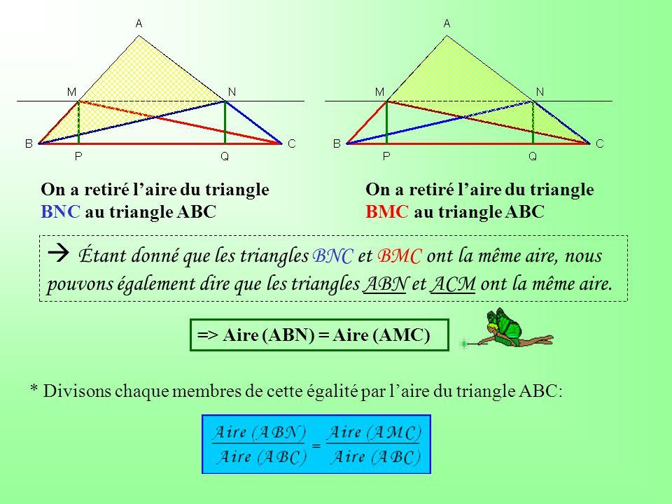  Étant donné que les triangles BNC et BMC ont la même aire, nous pouvons également dire que les triangles ABN et ACM ont la même aire.