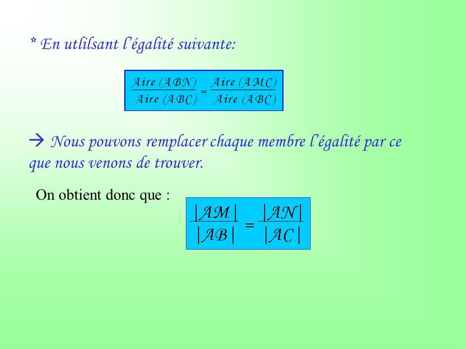 Conclusion : Deux droites sécantes (AB et AC) coupées par deux droites parallèles (MN et BC) déterminent des segments de longueurs proportionnelles: