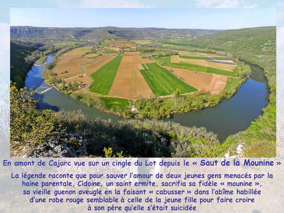 Entre St Cirq Lapopie et Figeac, dans la vallée du Lot, le village de CAJARC épouse la courbe des hautes falaises ocres qui l'entourent Georges Pompid
