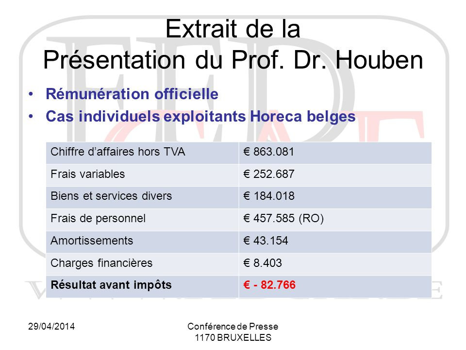 29/04/2014Conférence de Presse 1170 BRUXELLES Extrait de la Présentation du Prof.