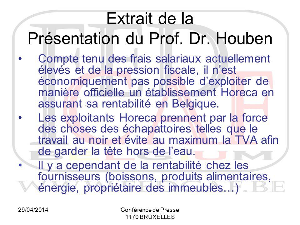 29/04/2014Conférence de Presse 1170 BRUXELLES Compte tenu des frais salariaux actuellement élevés et de la pression fiscale, il n'est économiquement pas possible d'exploiter de manière officielle un établissement Horeca en assurant sa rentabilité en Belgique.