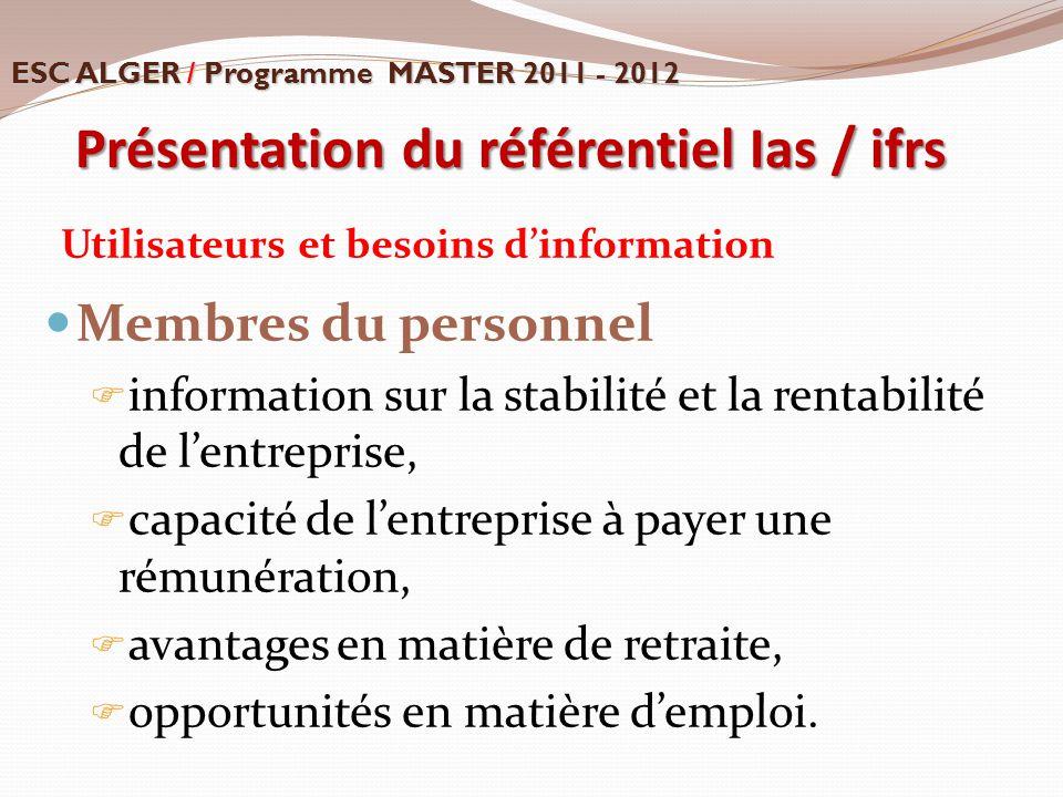 Utilisateurs et besoins d'information Membres du personnel  information sur la stabilité et la rentabilité de l'entreprise,  capacité de l'entrepris