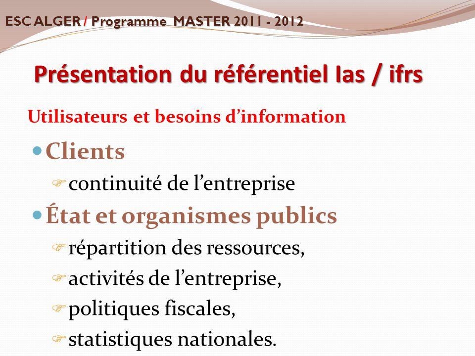 Présentation du référentiel Ias / ifrs Utilisateurs et besoins d'information Clients  continuité de l'entreprise État et organismes publics  réparti