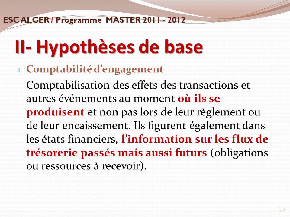 II- Hypothèses de base 1 Comptabilité d'engagement Comptabilisation des effets des transactions et autres événements au moment où ils se produisent et