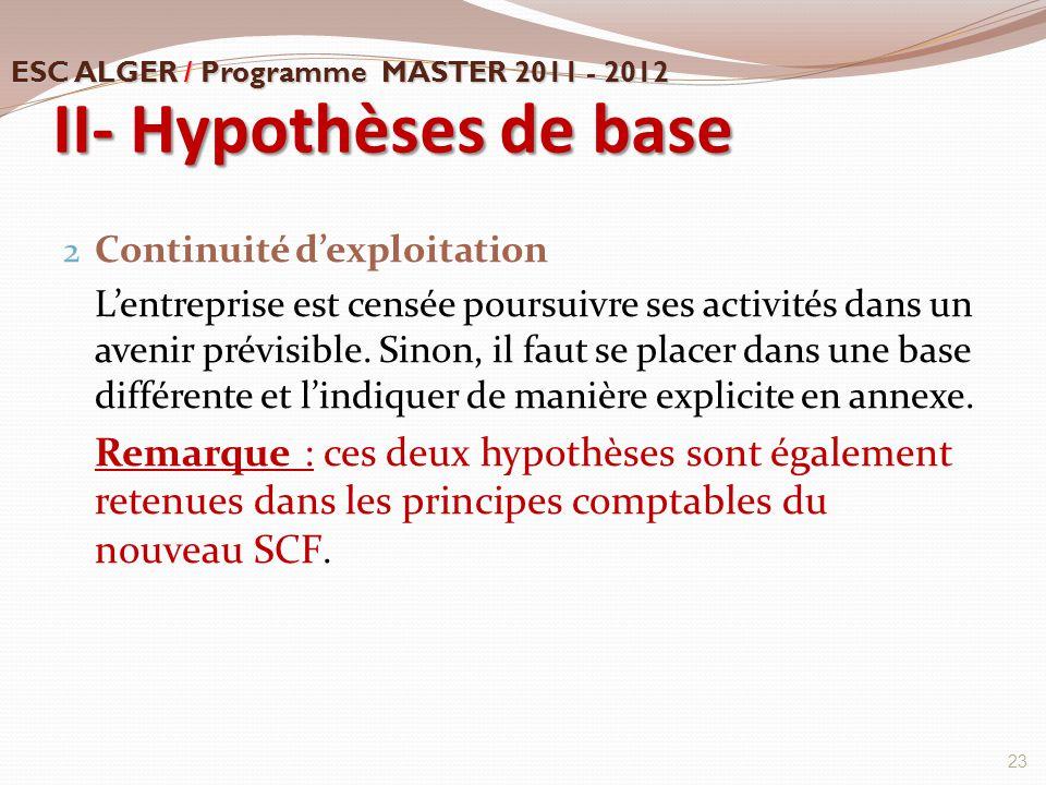II- Hypothèses de base 2 Continuité d'exploitation L'entreprise est censée poursuivre ses activités dans un avenir prévisible. Sinon, il faut se place
