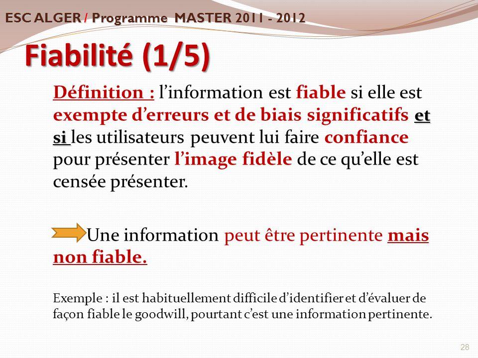 Fiabilité (1/5) et si Définition : l'information est fiable si elle est exempte d'erreurs et de biais significatifs et si les utilisateurs peuvent lui