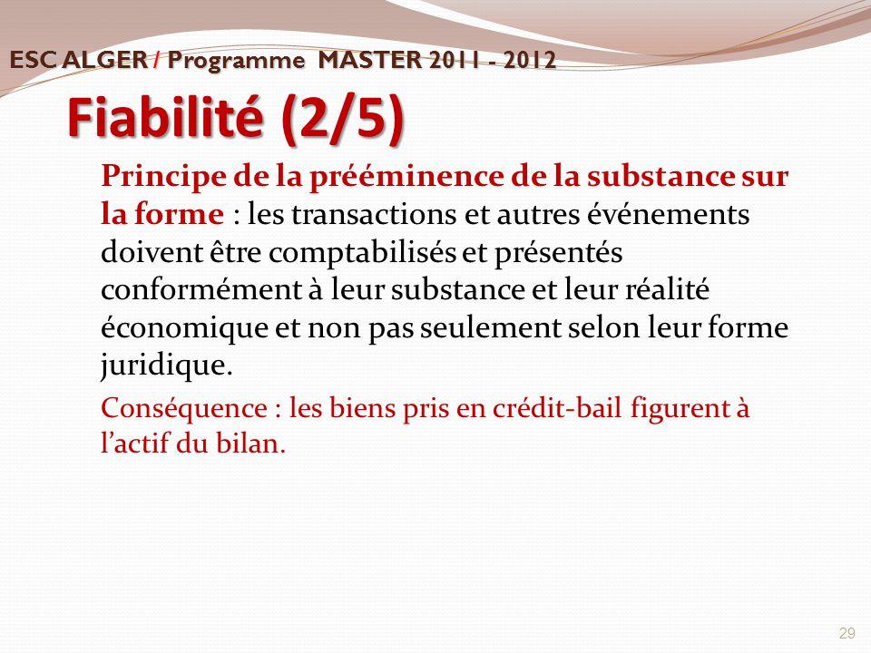 Fiabilité (2/5) Principe de la prééminence de la substance sur la forme : les transactions et autres événements doivent être comptabilisés et présenté