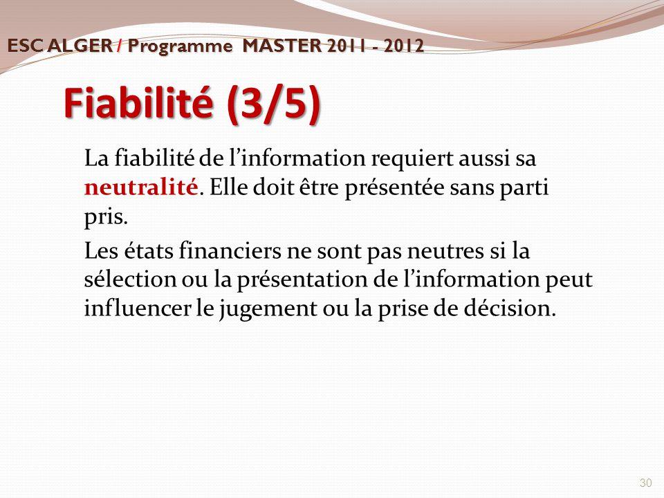 Fiabilité (3/5) La fiabilité de l'information requiert aussi sa neutralité. Elle doit être présentée sans parti pris. Les états financiers ne sont pas