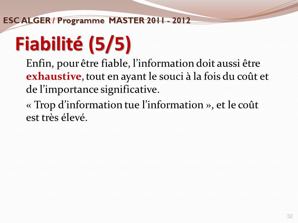 Fiabilité (5/5) Enfin, pour être fiable, l'information doit aussi être exhaustive, tout en ayant le souci à la fois du coût et de l'importance signifi