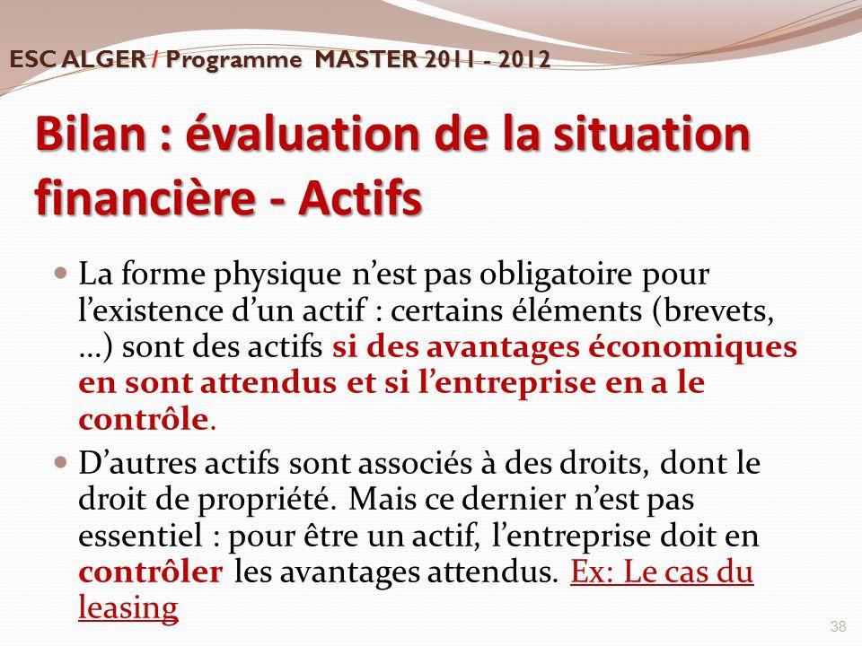 Bilan : évaluation de la situation financière - Actifs La forme physique n'est pas obligatoire pour l'existence d'un actif : certains éléments (brevet