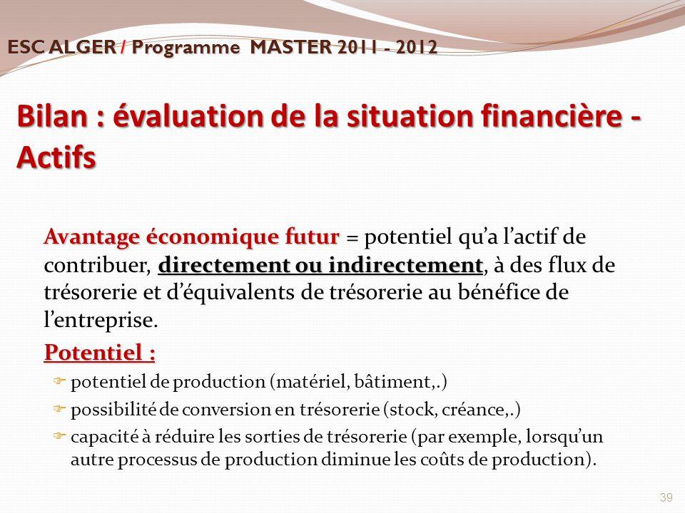 Bilan : évaluation de la situation financière - Actifs Avantage économique futur directement ou indirectement Avantage économique futur = potentiel qu