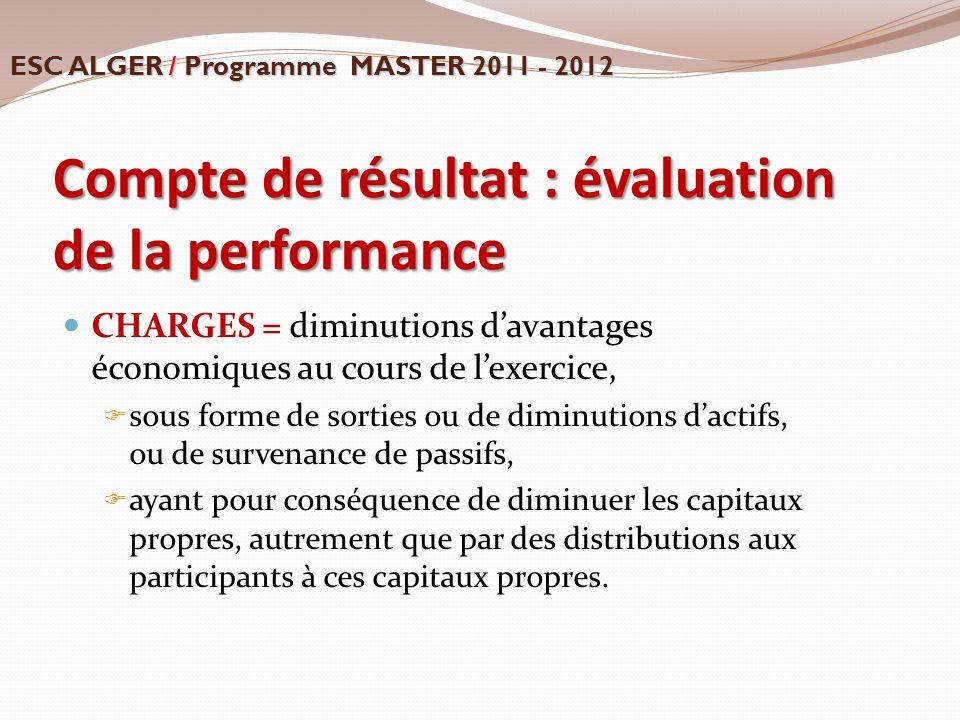 Compte de résultat : évaluation de la performance CHARGES = diminutions d'avantages économiques au cours de l'exercice,  sous forme de sorties ou de
