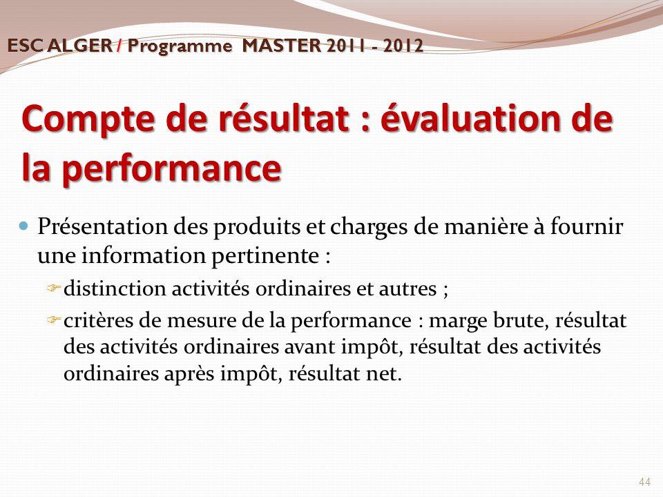 Compte de résultat : évaluation de la performance Présentation des produits et charges de manière à fournir une information pertinente :  distinction