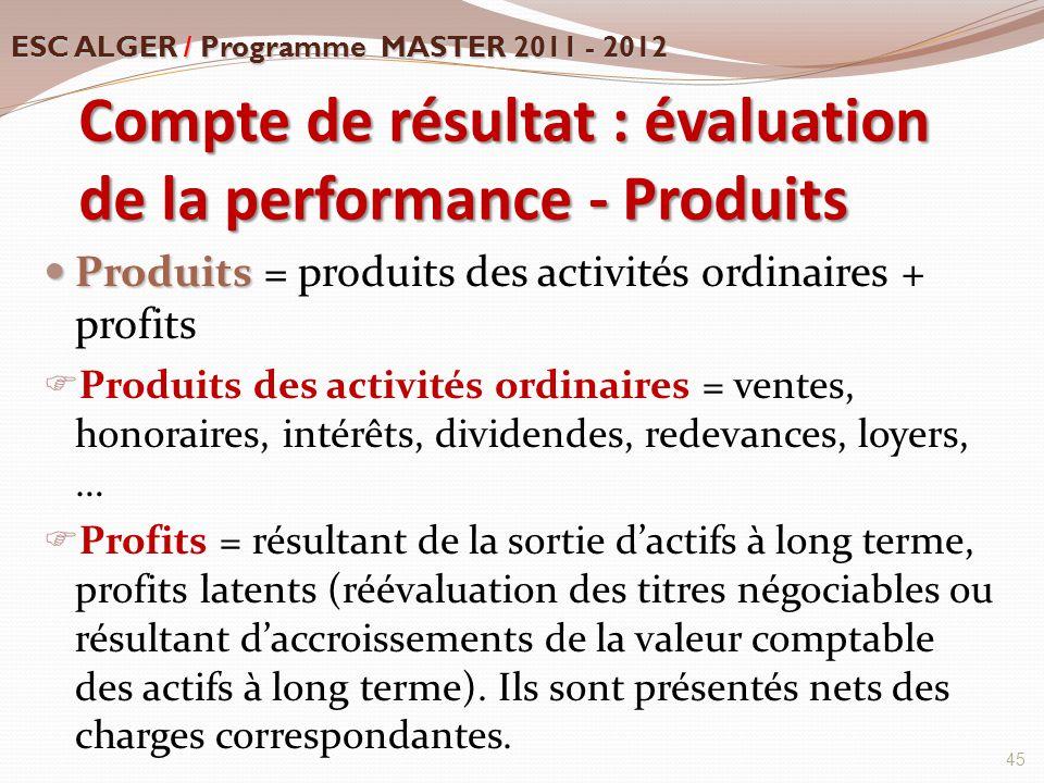 Compte de résultat : évaluation de la performance - Produits Produits Produits = produits des activités ordinaires + profits  Produits des activités