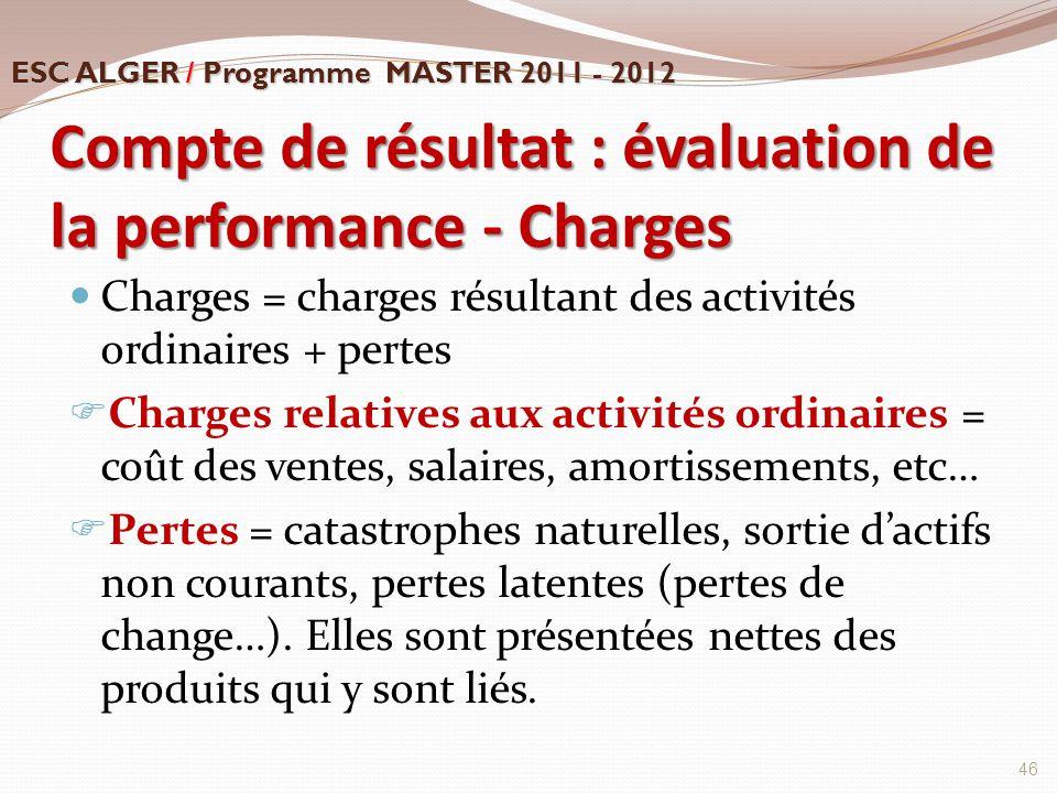Compte de résultat : évaluation de la performance - Charges Charges = charges résultant des activités ordinaires + pertes  Charges relatives aux acti