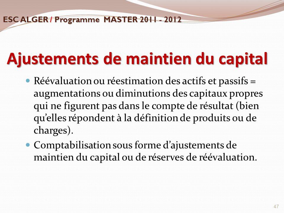Ajustements de maintien du capital Réévaluation ou réestimation des actifs et passifs = augmentations ou diminutions des capitaux propres qui ne figur