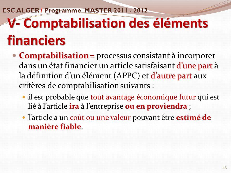 V- Comptabilisation des éléments financiers Comptabilisation = d'une part d'autre part Comptabilisation = processus consistant à incorporer dans un ét