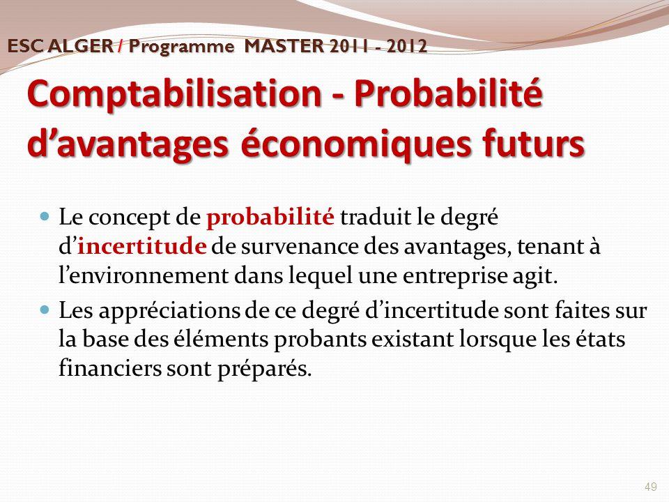 Comptabilisation - Probabilité d'avantages économiques futurs Le concept de probabilité traduit le degré d'incertitude de survenance des avantages, te