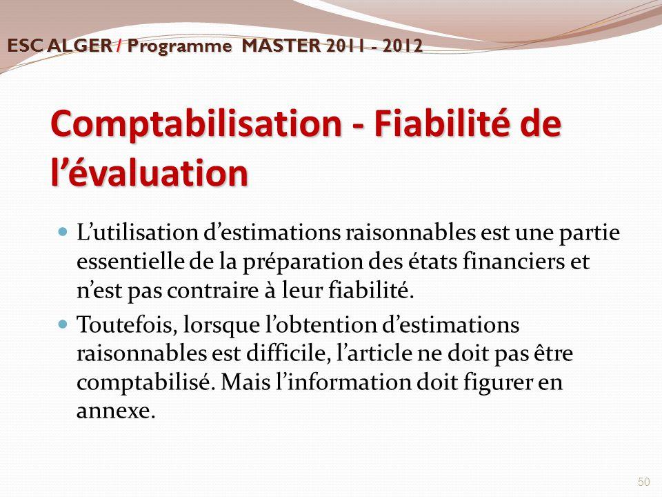 Comptabilisation - Fiabilité de l'évaluation L'utilisation d'estimations raisonnables est une partie essentielle de la préparation des états financier