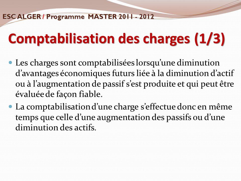 Comptabilisation des charges (1/3) Les charges sont comptabilisées lorsqu'une diminution d'avantages économiques futurs liée à la diminution d'actif o