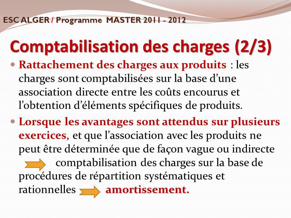 Comptabilisation des charges (2/3) Rattachement des charges aux produits : les charges sont comptabilisées sur la base d'une association directe entre