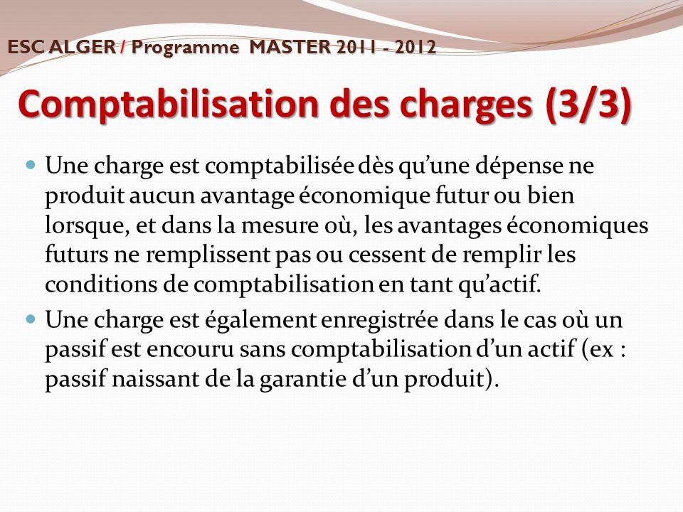 Comptabilisation des charges (3/3) Une charge est comptabilisée dès qu'une dépense ne produit aucun avantage économique futur ou bien lorsque, et dans