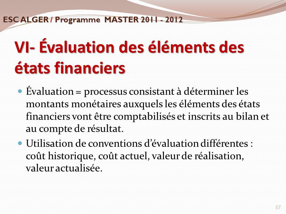 VI- Évaluation des éléments des états financiers Évaluation = processus consistant à déterminer les montants monétaires auxquels les éléments des état