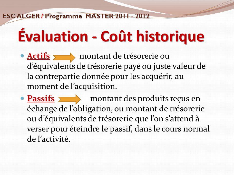 Évaluation - Coût historique Actifs Actifs montant de trésorerie ou d'équivalents de trésorerie payé ou juste valeur de la contrepartie donnée pour le
