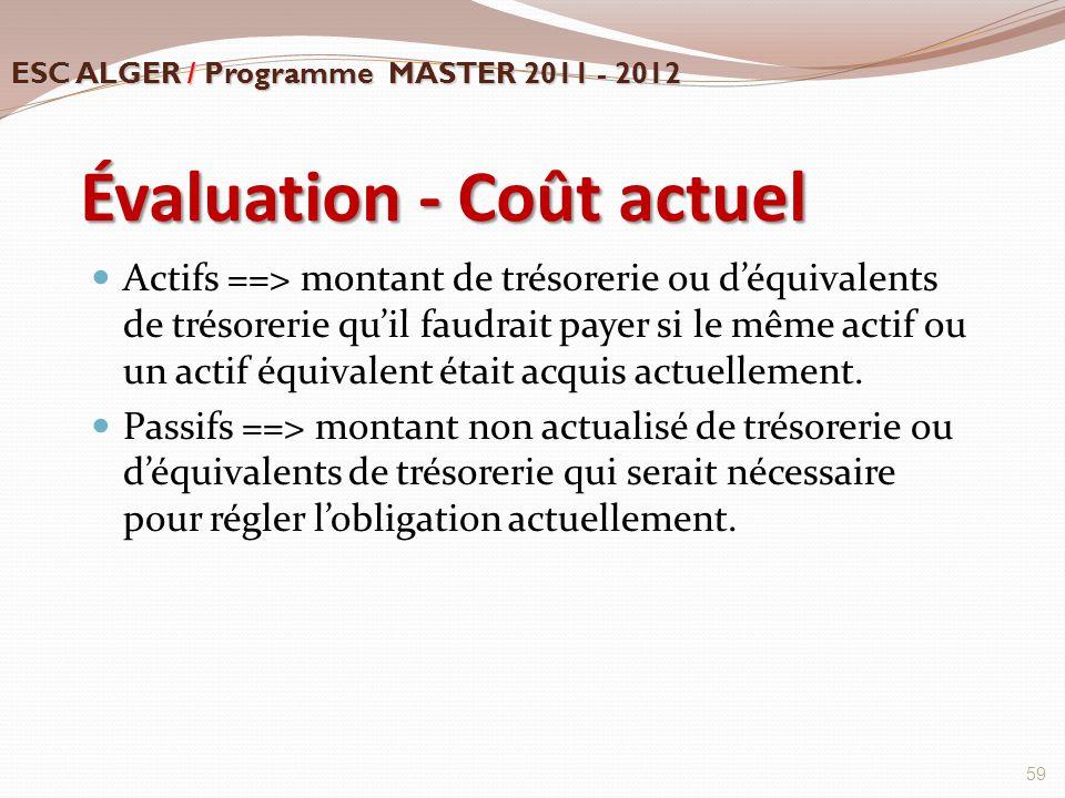 Évaluation - Coût actuel Actifs ==> montant de trésorerie ou d'équivalents de trésorerie qu'il faudrait payer si le même actif ou un actif équivalent