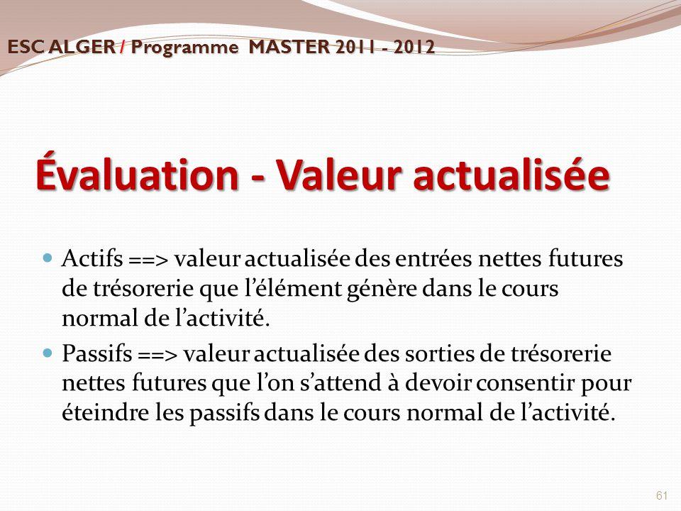 Évaluation - Valeur actualisée Actifs ==> valeur actualisée des entrées nettes futures de trésorerie que l'élément génère dans le cours normal de l'ac