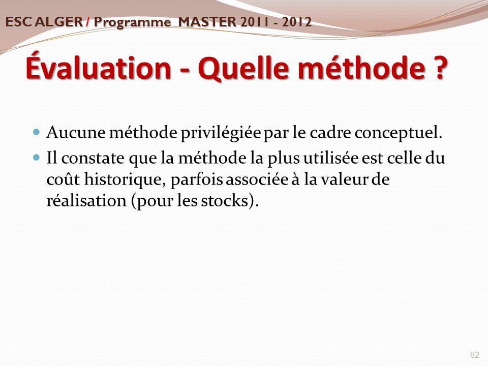 Évaluation - Quelle méthode ? Aucune méthode privilégiée par le cadre conceptuel. Il constate que la méthode la plus utilisée est celle du coût histor