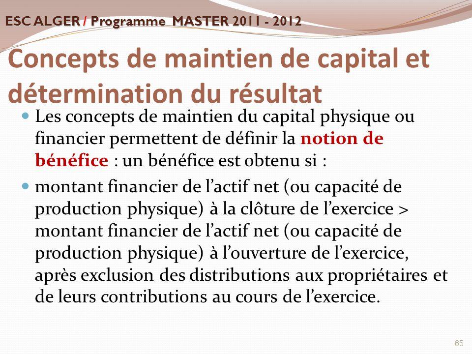 Concepts de maintien de capital et détermination du résultat Les concepts de maintien du capital physique ou financier permettent de définir la notion
