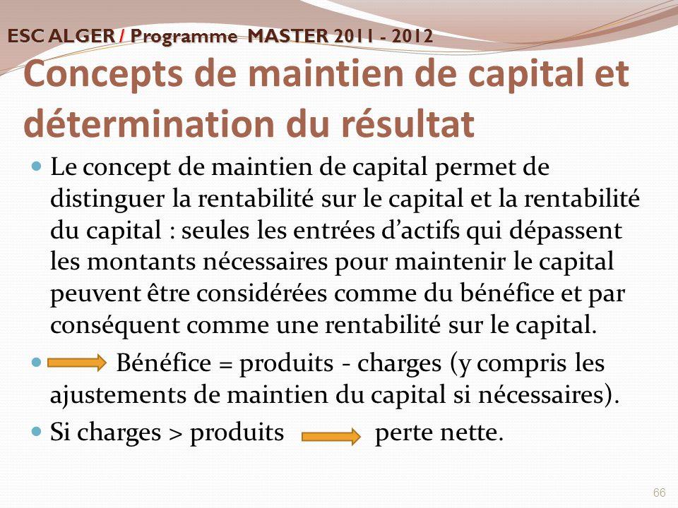 Concepts de maintien de capital et détermination du résultat Le concept de maintien de capital permet de distinguer la rentabilité sur le capital et l